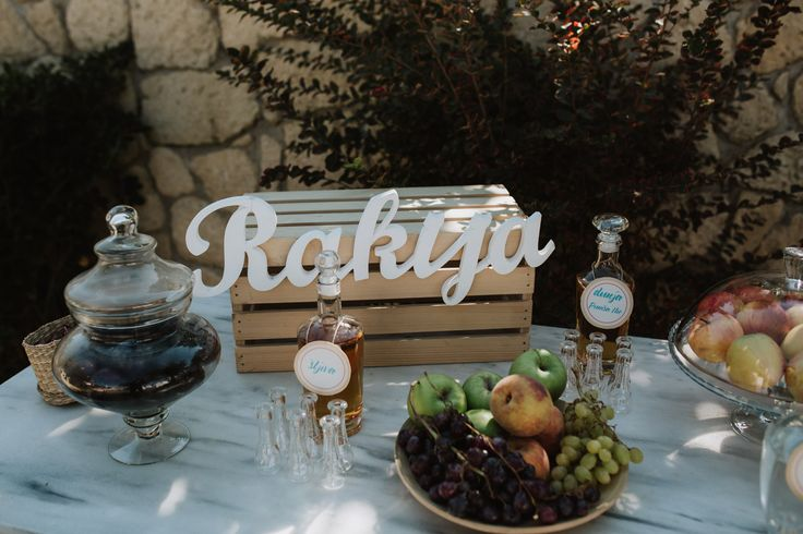 Rakija (traditional Serbian drink) bar setting | Intimate Beach Wedding