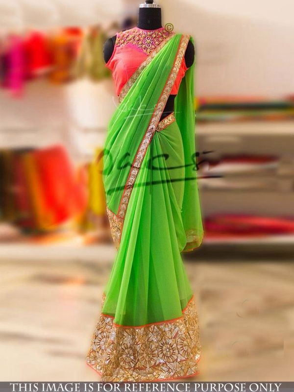 Sublime Green Georgette Designer Saree with Peach Color Banglory Silk Blouse. It Contained the work of Thread with Lace border. The Blouse can be customized up to bust size 44