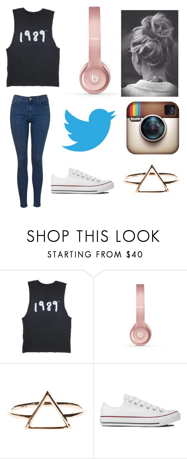 """""""comment the last song you listened to"""" by aliclm ❤ liked on Polyvore featuring Beats by Dr. Dre, Converse and Topshop"""