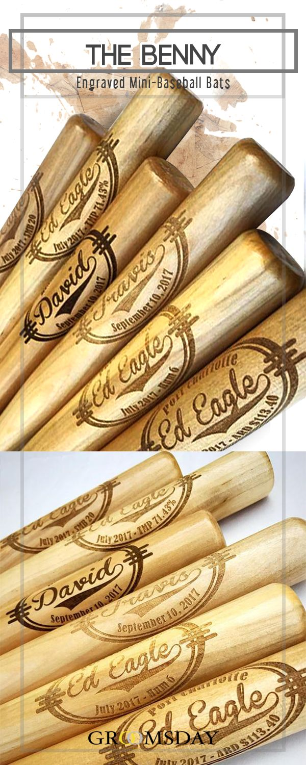 The Benny, an engraved mini baseball bat makes a great groomsmen gift, gifts for ring bearers, baby shower gifts, birth announcements gifts, gifts for graduations and keepsake gifts for any other  special occasion.Get an engraved mini baseball bat for your bros to remember your special day.  Share & repin!  Only from Groomsday | Groomsday.com #baseballbat #groom #groomsmen #groomsmengifts #personalizedgifts #giftsformen #mensgifts