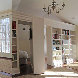 Hidden rotating bookshelf door w tv would be very for Secret door design ideas