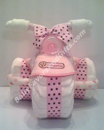 Tricycle Bicycle Diaper Cake Instruction | Tricycle Diaper Cake for Girl - 9990163 - Baby Girl - Diaper Cakes ...  www.TopsyTurvyDiaperCake.com - washcloth favors, washcloth animals, diaper cakes, and baby shower gifts