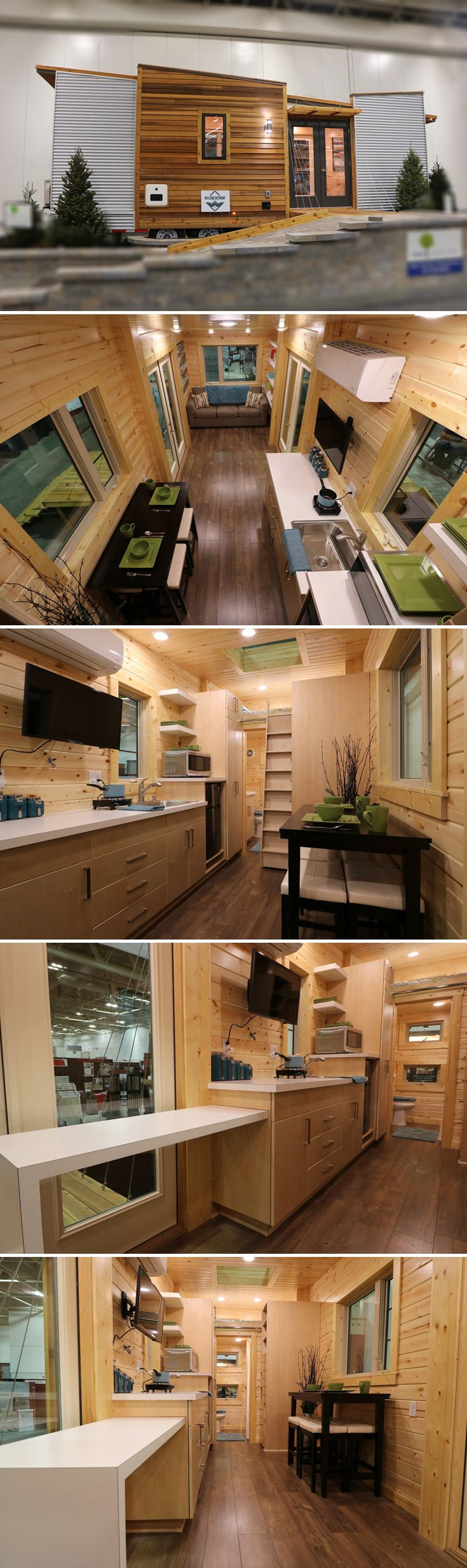 A unique, contemporary tiny house built by Utopian Villas. The 28'x10' house has two fold-down porches and a mix of cedar and corrugated metal siding.