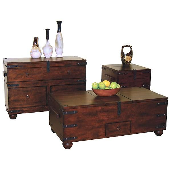 The Santa Fe Collection Trunk Tables Feature Distressed Birch Wood And Iron  Hardware. The Top Opens Via Latch On Each Trunk Table To Reveal An Interior  ...