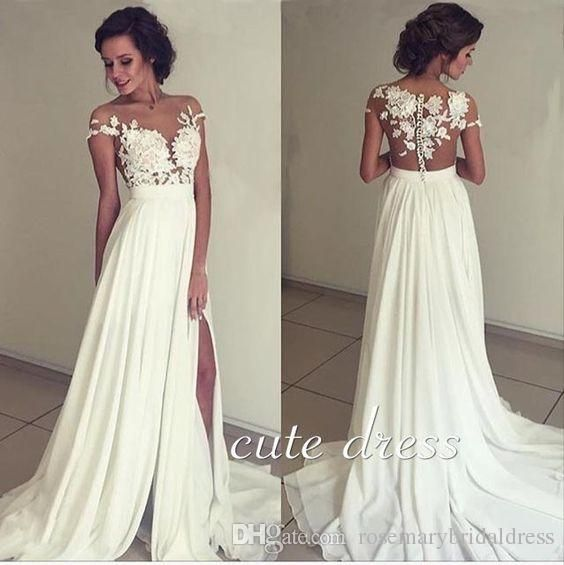 Ivory Chiffon Lace Round Neck Long Prom Dresses A Line Sexy Women Evening Dresses Sexy Side Split 2016 Prom Gown Camo Prom…