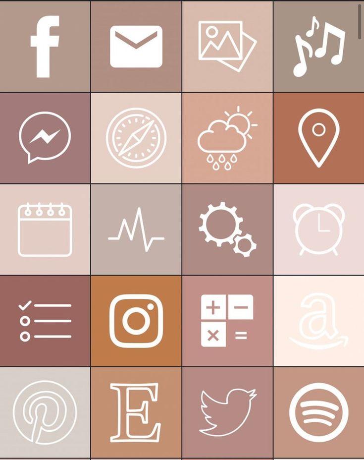 34 boho aesthetic ios 14 iphone app icons neutral boho