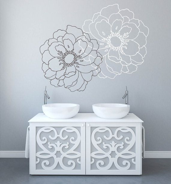 "Flower Decals for Walls Stickers for Walls Family Room Designs Wall Stickers for Bedrooms  ★ SIZE ★ 32.3"" H by 40"" W  For custom size, please contact us:)  ★ COLORS SELECTION ★  All the colors in our color palette are currently available You can find a color palette by scrolling listing image to the right. Please include COLOR selection in the MESSAGE TO DECALISLAND box during check out If you do not put any color choices, you will receive the default colors shown in the main/first image..."