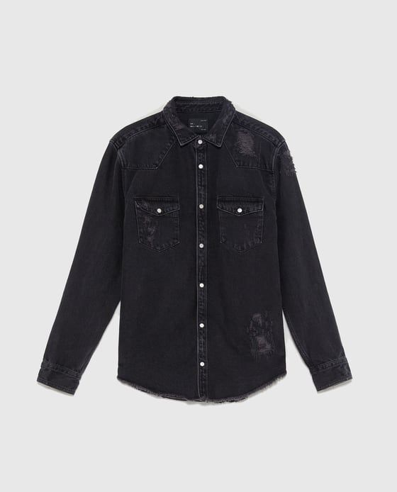 acfda5cf42 Image 6 of RIPPED DENIM OVERSHIRT from Zara
