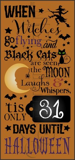 Days Until Halloween Countdown Chalkboard Stencil | Stencil Me In