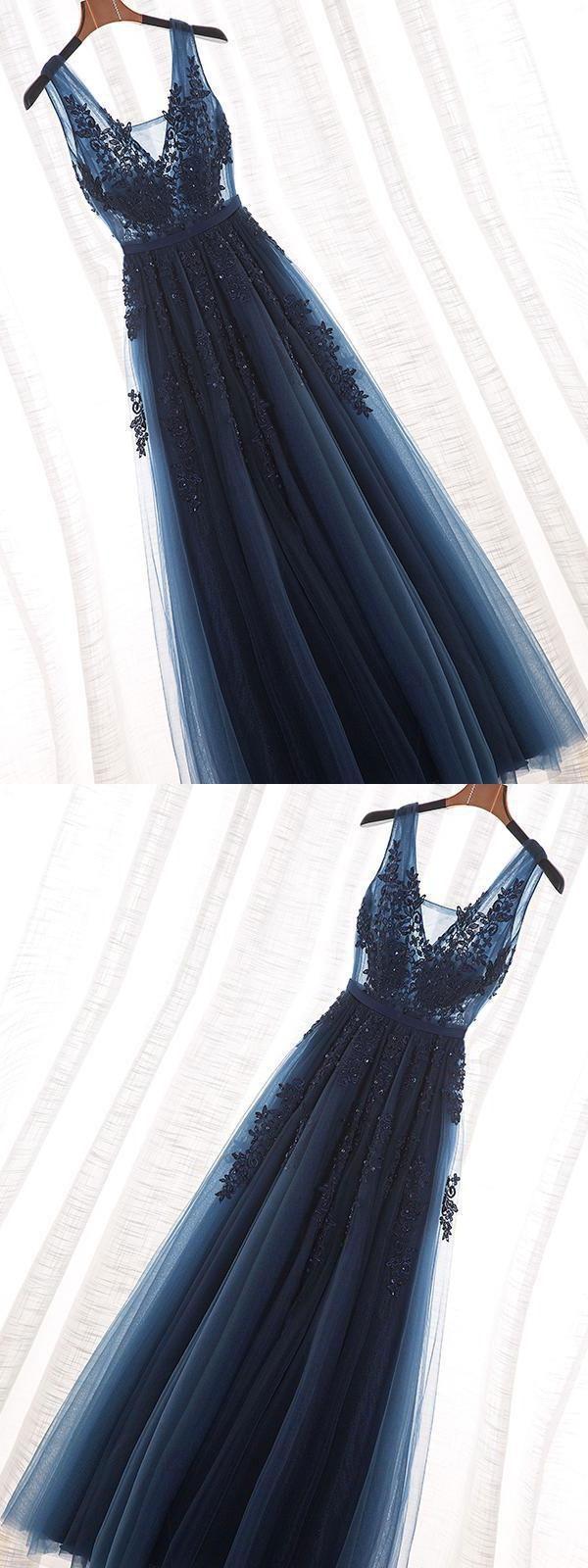 Soft Blue Prom Dress, Long Prom Dress, Navy Blue Prom Dress, Lace Prom Dress