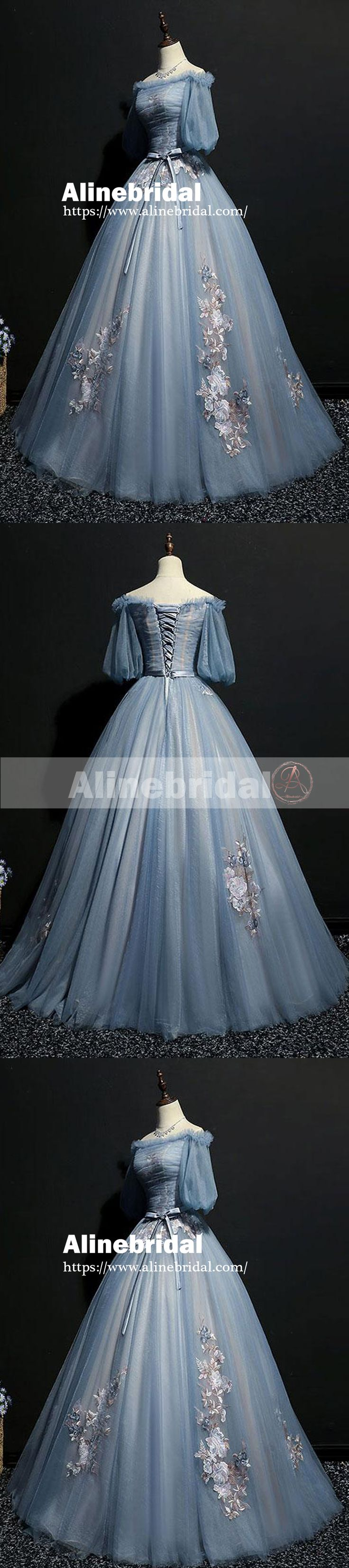 Vintage Princess Off Shoulder Half Sleeve Sky Blue Appliques Ball Gown Prom Dresses,PD00076