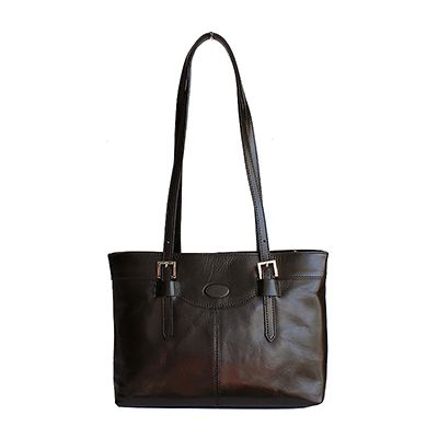 Classic Italian Black Leather Shoulder Bag - £64.99
