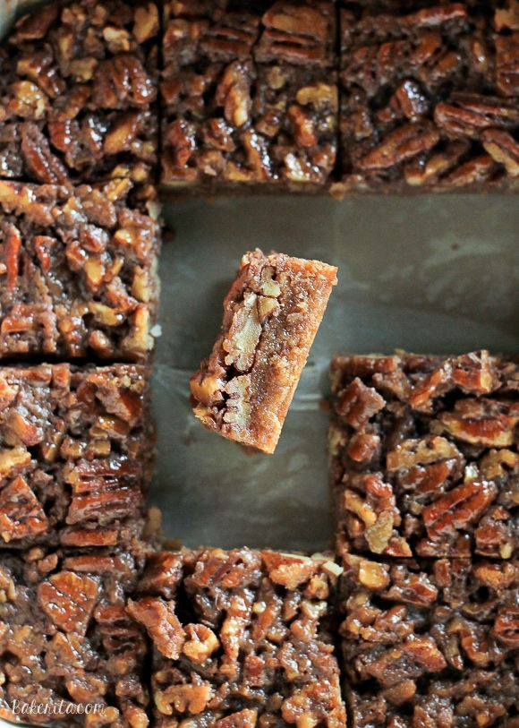These Pecan Pie Blondies are a portable version of one of my favorite pies! The recipe for these sweet bars makes rich browned butter blondies topped with crunchy pecan pie filling.