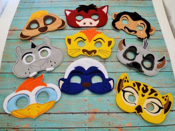 Lion Felt Masks Lion Leopard Hyena Bird Prairie Dog by EODdesign