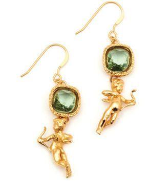 Bill Skinner Mini Cherubs Collection  Cherub Earrings Erinite Crystal & Gold