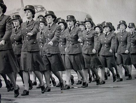 Members of the RCAF Women's Division on parade at RCAF Centralia, Ontario. The photo was taken by newspaper photographer Tommy Wilmott, for publicity purposes. It appears that Ruth Owen Whitelegg is marching third from the front. For more: www.elinorflorence.com/blog/rcaf-women-photographer