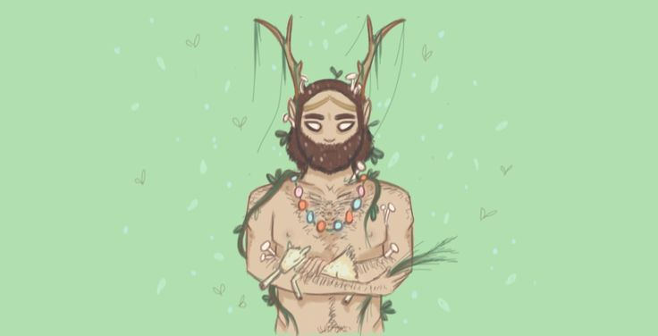 Cernunnos - God of the Wild, Beasts and the Land. I drew this as a complimentary piece to my Isis portrait.
