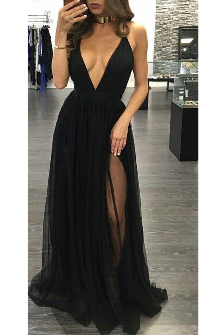 2019 correas de espagueti una línea vestidos de noche de tul con la raja US$ 119.00 VTOPX8Z4BSR