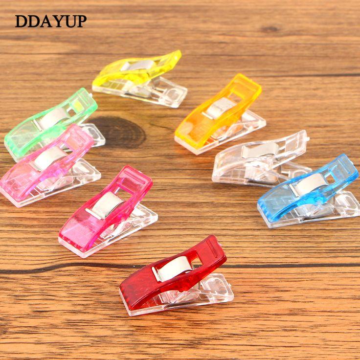 50Pcs/pack Plastic Binder Clips 3.5*1.8cm Office Clip for Patchwork Sewing DIY Crafts Paper Stationery School Color Random