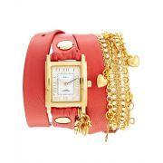 Reloj envolvente en coral con charms Tokyo Crysal de La Mer, feminity The Style Click