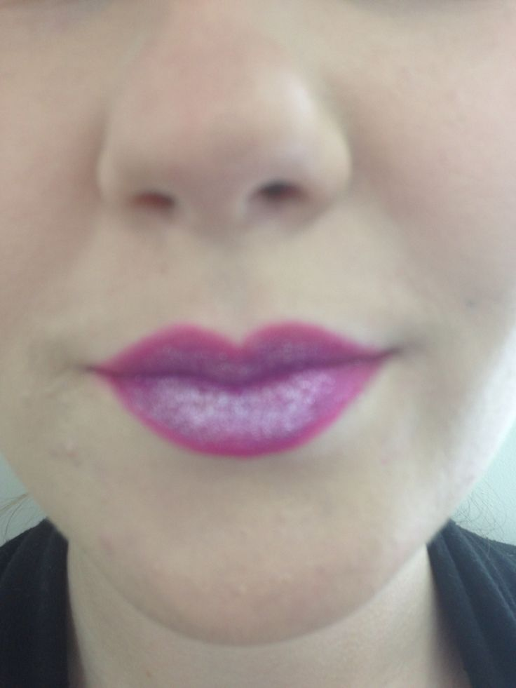 Gorgeous lips with a hot pink and purple ombre and sparkles over the top