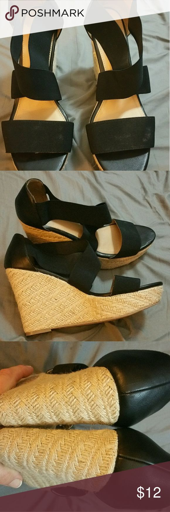 Black Wedge sandals Like new condition. Worn once and they killed my feet over the toes. Smoke free home. Mossimo Supply Co. Shoes Wedges