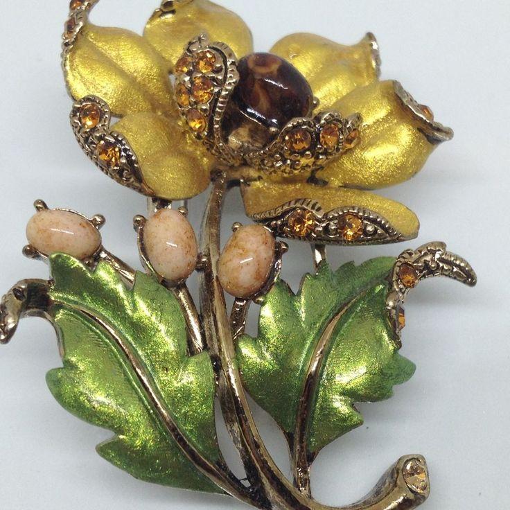 Signed TRIFARI Vintage FLOWER BROOCH PIN Rhinestone Enamel Gold Tone Jewelry | eBay