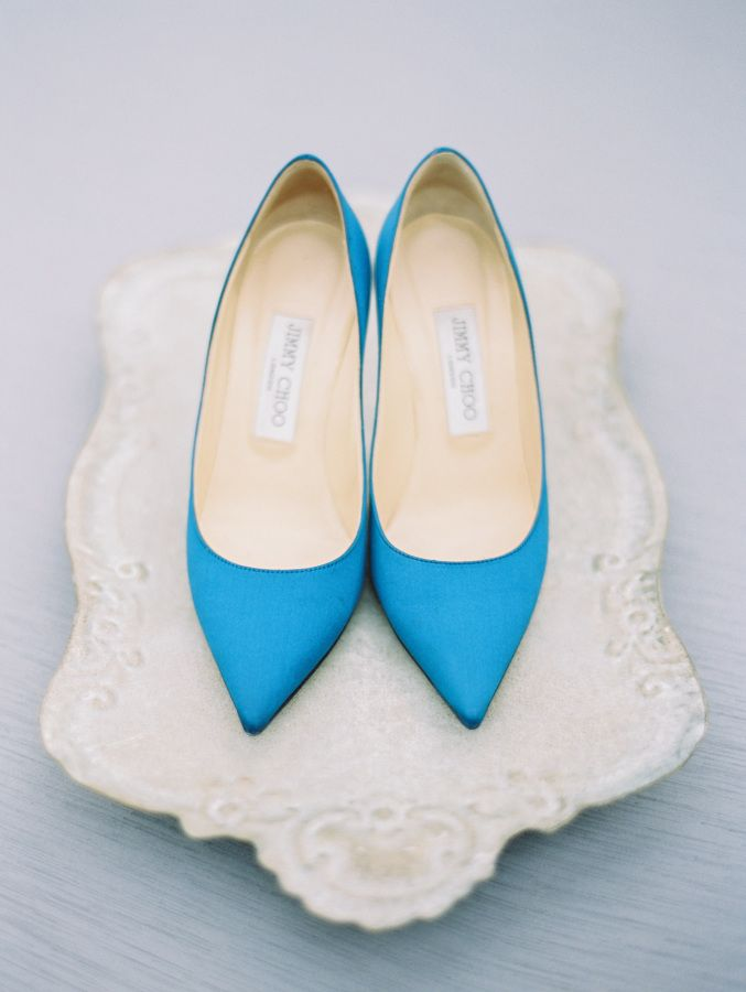 Teal blue Jimmy Choos: http://www.stylemepretty.com/2017/03/14/a-moody-blue-wedding-inspired-by-fine-art/ Photography: Ryan Ray - http://www.ryanrayphoto.com/