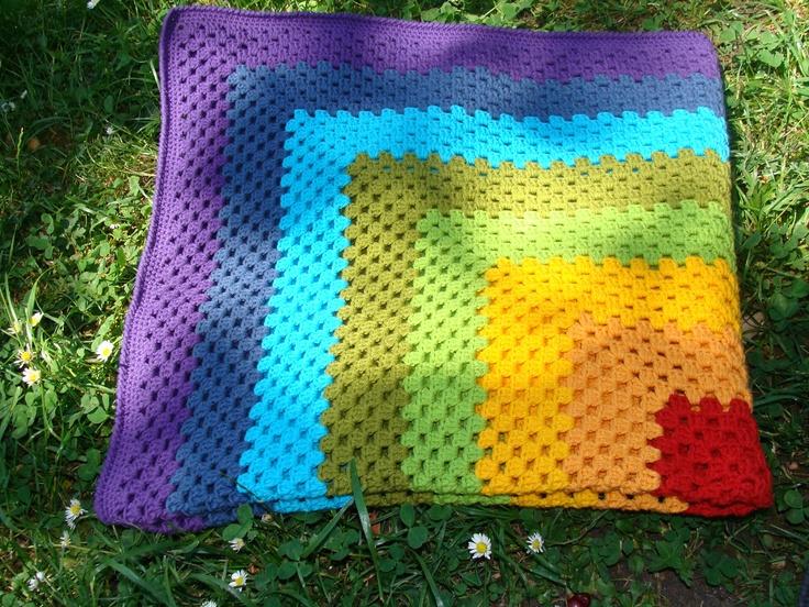 Rainbow Crochet Baby Blanket Granny Square Afghan