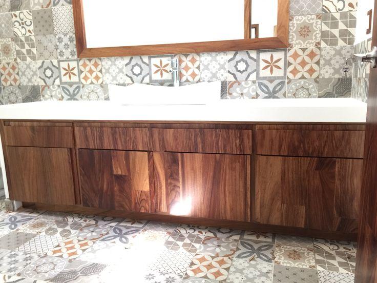 Mueble de ba o en madera de parota puertas langarica pinterest - Mueble de bano de madera ...