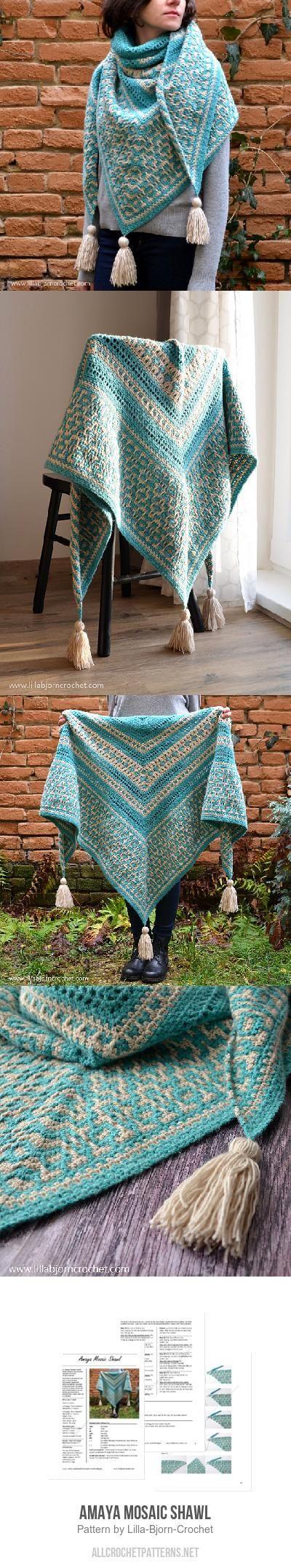 Amaya Mosaic Shawl crochet pattern