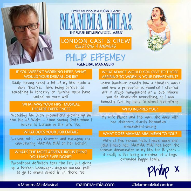 It's #MeetTheCrewMonday time!  Say hello to the f-ABBA-lous Philip Effemey, General Manager of MAMMA MIA! London 😊  Join the fun at the Novello Theatre, say Gimme! Gimme! Gimme! to tickets today: www.mamma-mia.com  #MammaMiaMusical #MammaMiaLondon #MeetTheCrew