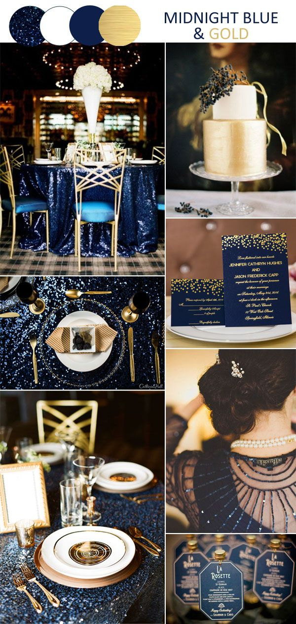 fantasy midnight blue and gold vintage wedding inspiration