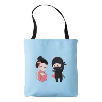 Valentine Ninja and Geisha on Blue Tote Bag - blue gifts style giftidea diy cyo