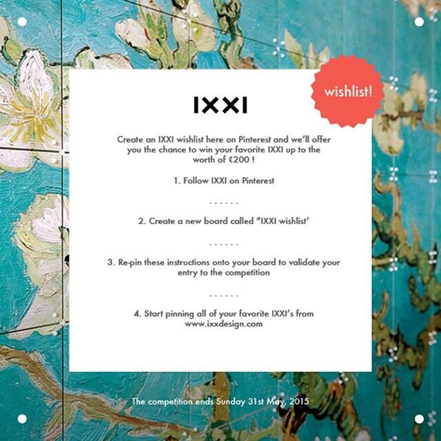 WIN your favorite IXXI  Have you seen our Pinterest wishlist competition? Start pinning and stand a chance to win your favorite IXXI. Good luck!  #IXXI #Pinterest #win #interior #design #interieur