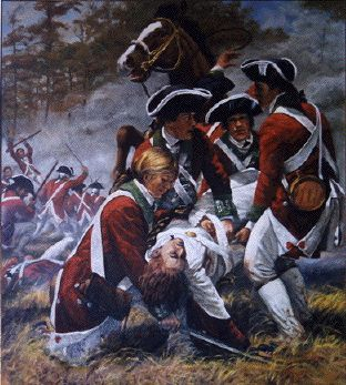 Battle of King's Mountain, MAJ Patrick Ferguson, British Army, mortally wounded by Patriot mountain men militia. The Patriots defeated the Regulars and Loyalist militia in a battle that turned the tide in the South and the Revolution.