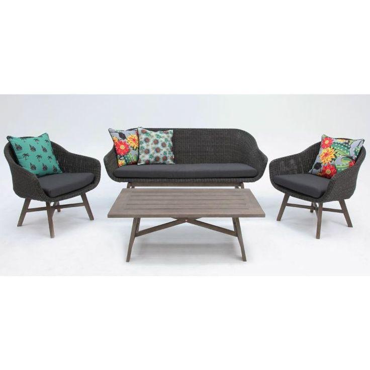 Layla 5 Seater Rattan Wicker Lounge Set in Grey | Buy Rattan & Wicker