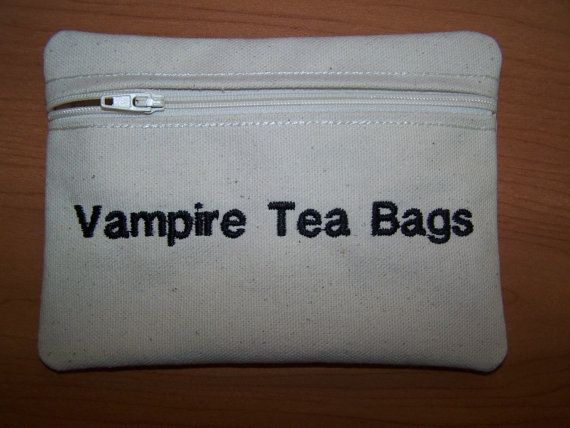 Have me the giggles...Vampire Tea Bags Tampon & Maxi Pad Bag Zippered Fabric Purse Pouch / Tampon Keeper