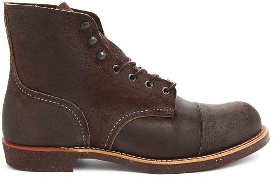 $294, Dark Brown Leather Boots: Red Wing Shoes Red Wing Iron Ranger Dark Brown Boots Sale. Sold by Menlook. Click for more info: http://lookastic.com/men/shop_items/131683/redirect