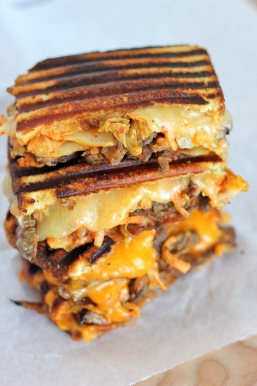 Kalbi Steak Kimchi Grilled Cheese - Damn Delicious. For the Kalbi recipe--I don't think Brice would like kimchi in his grilled cheese.