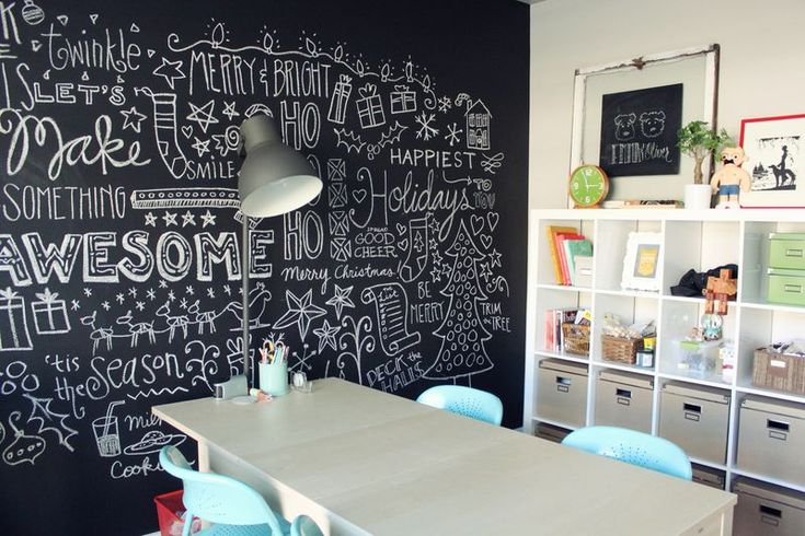 Chalkboard wall - love the typography
