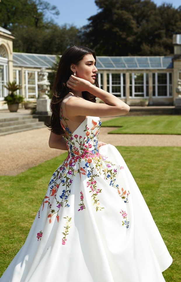 Boldly Boho Embroidered Wedding Dresses With Colourful Florals