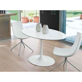 F2 ovaler Tisch Blues weiß, HPL weiß