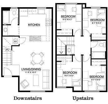 Campus corner townhouse floor plan 4 bedrooms 2 bathroom for 3 bedroom townhouse plans