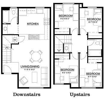 Campus Corner Townhouse Floor Plan (4 bedrooms 2 bathroom