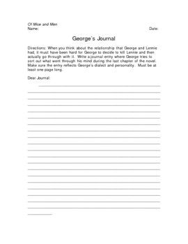george lennie diary entry Of mice and men is written against the george and lennie's american 15 imagine you are george write a diary entry reflecting on events that have.