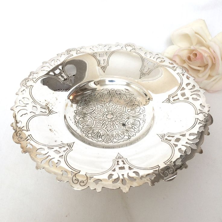Vintage Silver Tray, Vanity tray, Jewelry dish, Shabby Chic French Decor silver plate scalloped dish by EllasAtticVintage on Etsy
