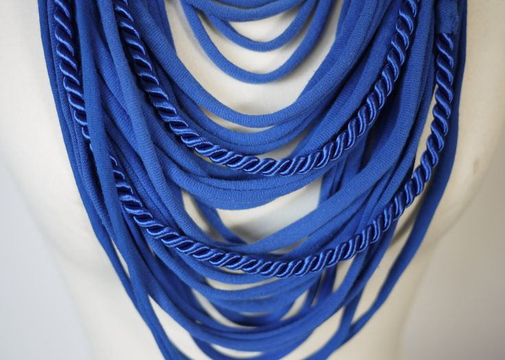 Upcycled t-shirts scarf: Strips & string - royal blue [406] by StripsUp on Etsy