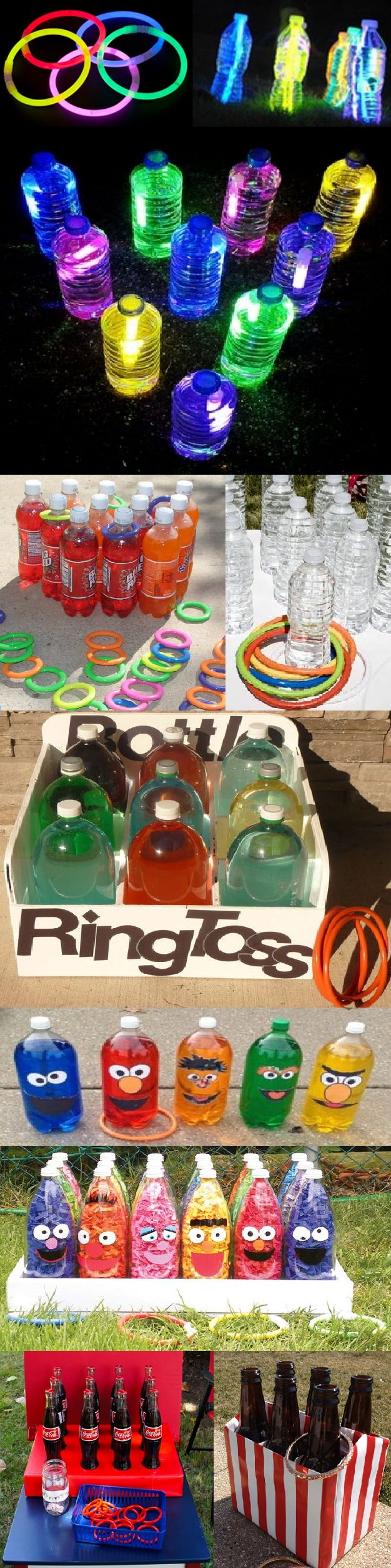 "GLOW IN THE DARK & REGULAR RING TOSS GAME: 16 oz, 1 liter, or 2 liter soda, juice, or water bottles-Clean, remove labels, & fill with water. Set bottles in a shoe box or triangle form & use 3""-5"" (or best size) plastic toss rings to play. FOR NIGHT PLAY: Snap & place glow sticks in bottles & tighten lids. Instead of toss rings, use glow in the dark bracelets or connectors to connect glow sticks to create a ring & tape to secure. *Alternate:Leave pop unopened & if you ring it you get it!"