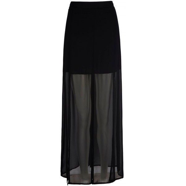 Mela Loves London High Low Split Maxi Skirt ($38) ❤ liked on Polyvore featuring skirts, bottoms, saia, black, women, black skirt, mullet skirt, hi low skirt, black hi lo skirt and short in front long in back skirt